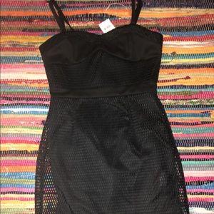 Dresses & Skirts - Black mesh mini dress!
